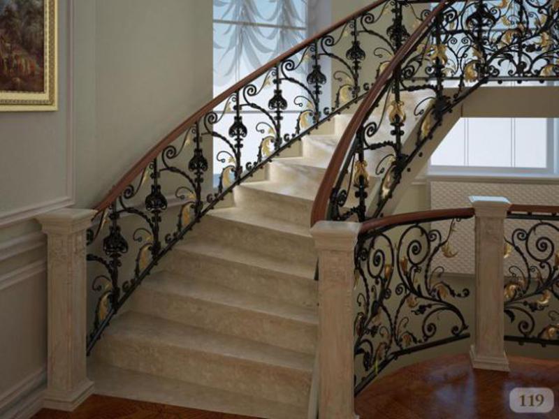 Кованые перила для лестниц в интерьере помещения: описания, виды,  преимущества и фото