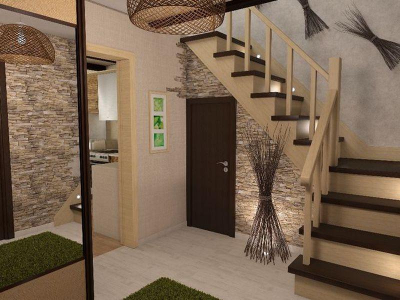 Дизайн прихожей в доме с лестницей